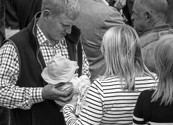 Andrew, Claire and infant Holly introduced to the Tan Hill Swaledale sheep show.